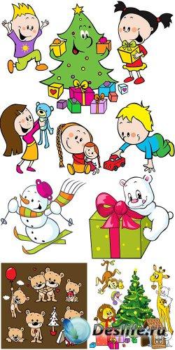 Новогодний веселый клипарт с детками и животными