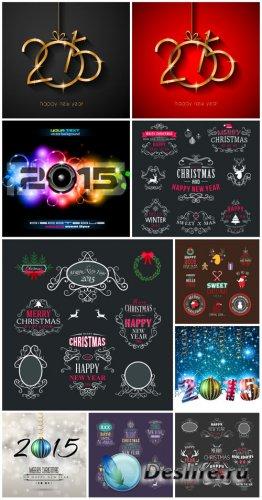 Векторные рождественские фоны и этикетки 2015 / Vector christmas background ...