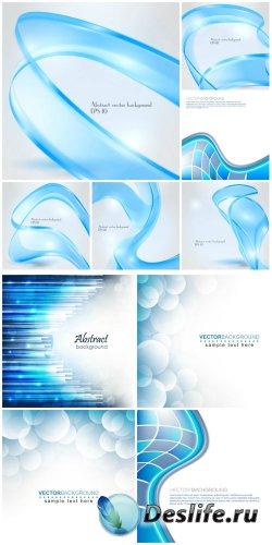 Голубая абстракция, линии, векторные фоны / Blue abstraction, line, vector  ...