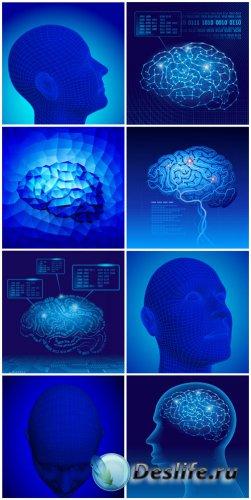 Человеческий мозг, люди в векторе / Human brain, people in the vector
