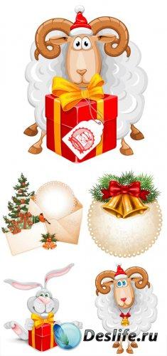 Рождественский вектор, заяц и новогодний барашек / Christmas vector, rabbit ...