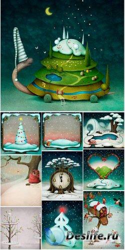 Сборник новогодних детских фонов