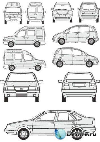 Автомобили Fiat - векторные отрисовки в масштабе