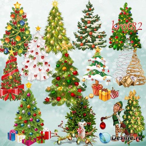 Клипарт на прозрачном фоне  – Елки, наряженные новогодними игрушками