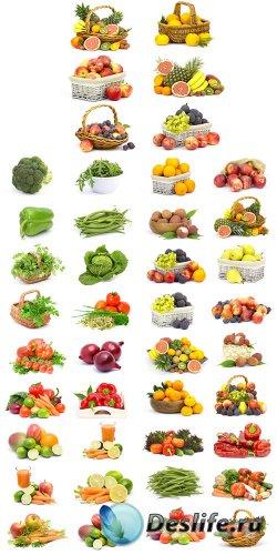 Фрукты и овощи на белом фоне - растровый клипарт