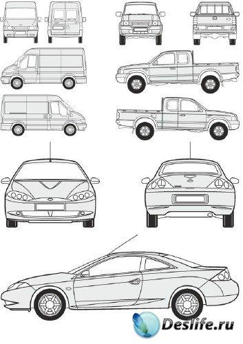 Автомобили Ford - векторные отрисовки в масштабе