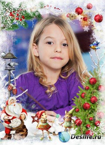 Детская новогодняя рамочка - с Дедом Морозом и мышками