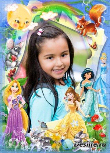 Рамочка для девочек - с принцессами на лесной опушке