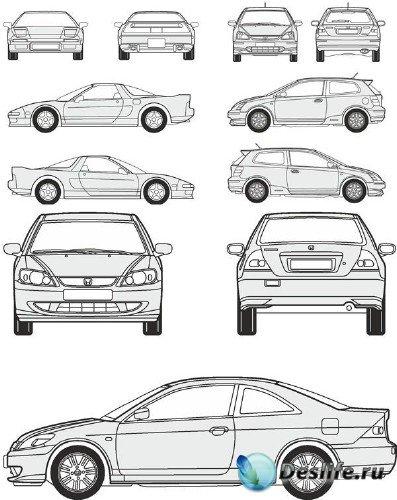 Автомобили Honda - векторные отрисовки в масштабе
