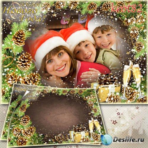 Рамка для новогоднего фото с еловыми ветками – Доброго Нового года