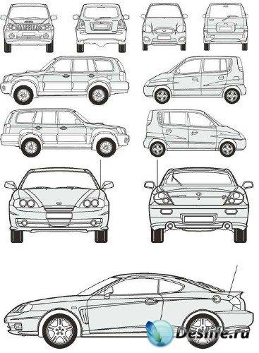 Автомобили Hyundai - векторные отрисовки в масштабе