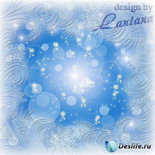 Psd исходник - Мороз рисует на стекле узоры хрусталем