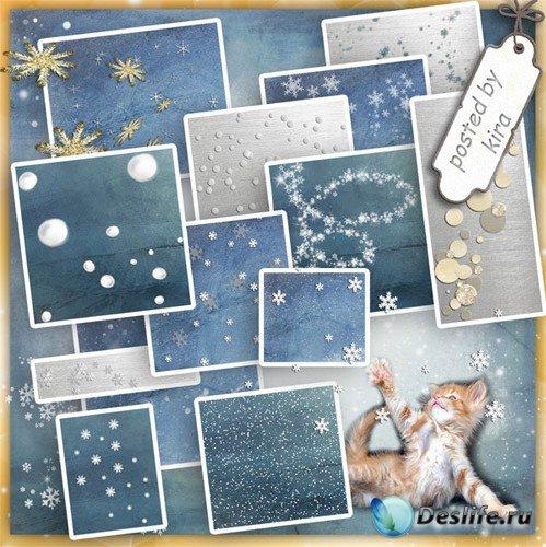 Зимний клипарт - Падающий снег и россыпи снежков