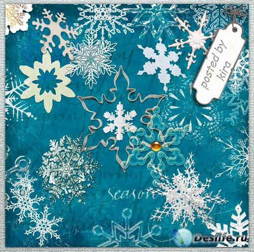 Клипарт - Волшебное зимнее чудо - снежинки