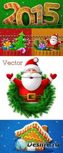 Декоративные Новогодние фоны в Векторе – Праздничный Санта