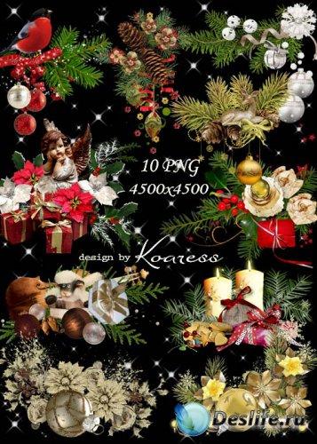 Новогодние и рождественские кластеры для дизайна на прозрачном фоне
