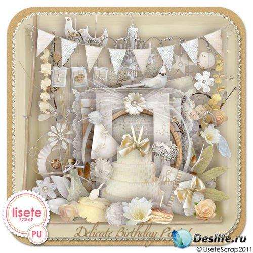 Праздничный скрап-комплект - Нежный День рождения