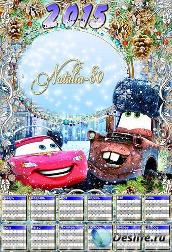 Веселый яркий детский календарь с вырезом для фото на 2015 год - Зимние Тач ...