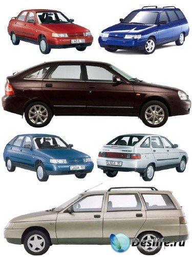 Автомобили марки ВАЗ (2110, 2111, 2112) прозрачный фон