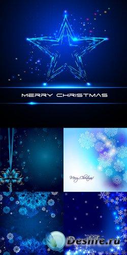 Синие новогодние фоны в векторе