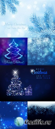 Синие новогодние фоны в векторе 2