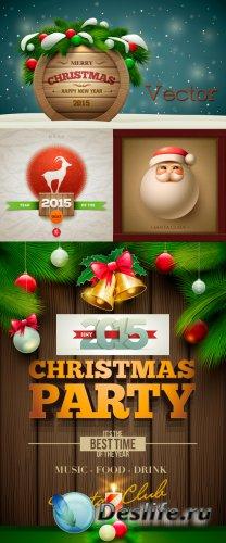 Новогодние фоны в Векторе с еловыми ветками и Сантой