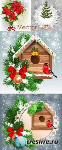 Новогодние фоны в Векторе со скворечником, еловыми ветками и снегирем