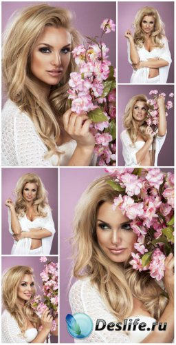 Beautiful blonde girl with flowers - female stock photos