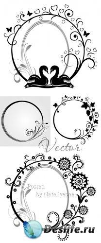 Декоративные узоры и рамки для дизайна в Векторе # 3