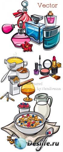 Подборка векторного клипарта – Косметика, еда и бокал с сигарой