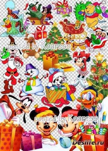 Детский новогодний, рождественский клипарт для фотошопа на прозрачном фоне