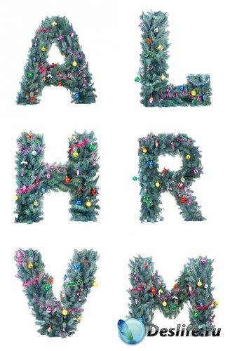 Растровый клипарт - Новогодний алфавит