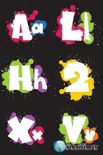 Буквы кляксы в векторе