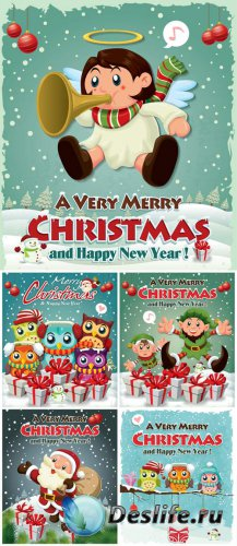 Christmas vector, Santa Claus and Christmas angel