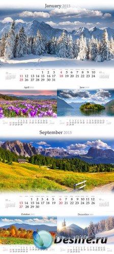 Календарь 2015 с пейзажами в растре
