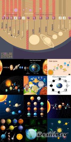 Солнечная система инфографика - векторный клипарт