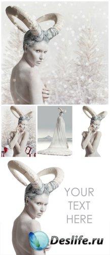 Winter woman - creative stock photos