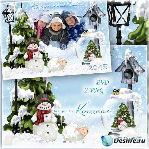 Поздравительная новогодняя рамка для фотошопа с барашком и снеговиком - Лес ...