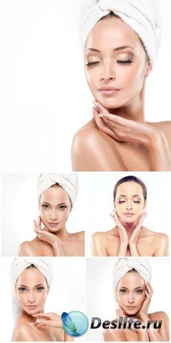 Beautiful girl in a towel, body care - stock photos