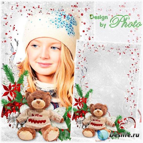 Новогодняя детская фоторамка - Снежинка села на стекло