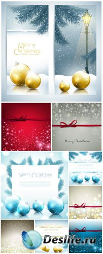Christmas vector background with Christmas balls and shining stars