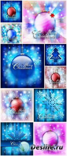 Christmas vector background with Christmas balls and shiny snowflakes