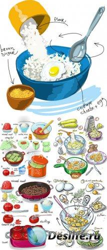 Иллюстрации кулинарных рецептов в векторе