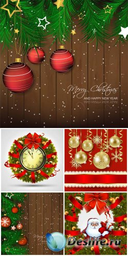 Christmas vector background with Christmas balls and Santa