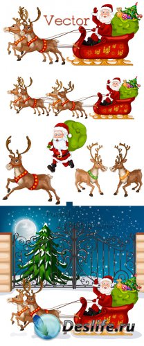 Подборка векторного клипарта – Рождественская упряжка оленей и Санта