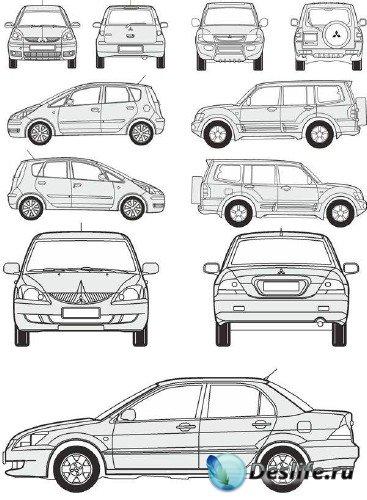 Автомобили Mitsubishi - векторные отрисовки в масштабе