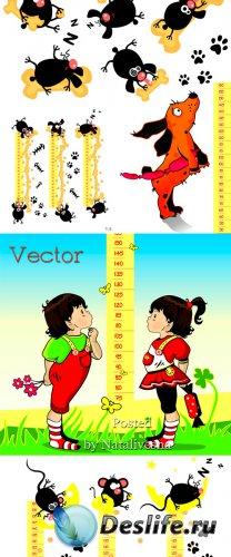 Подборка детского векторного клипарта – Ростомер с забавными мышами и букаш ...