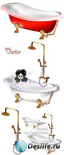 Подборка детского векторного клипарта – Купание в ванной