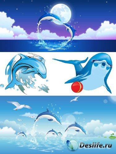 Векторные дельфины (подборка картинок)