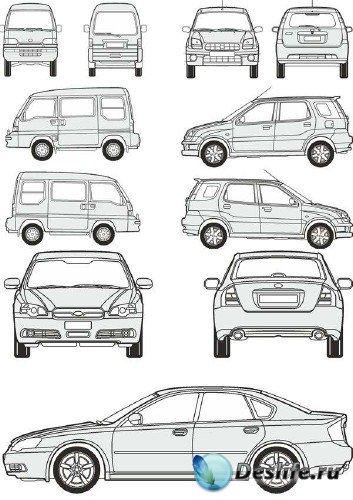 Автомобили Subaru - векторные отрисовки в масштабе